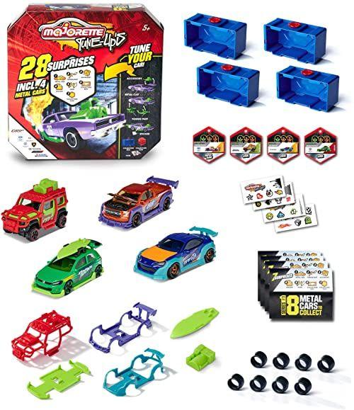 Majorette  Tune Ups Series 1, 4-częściowy zestaw, 28 niespodzianek, samochodziki zabawkowe z metalu do tunowania, 4 samochody w opakowaniu niespodziankowym, z akcesoriami tuningowymi, losowy wybór