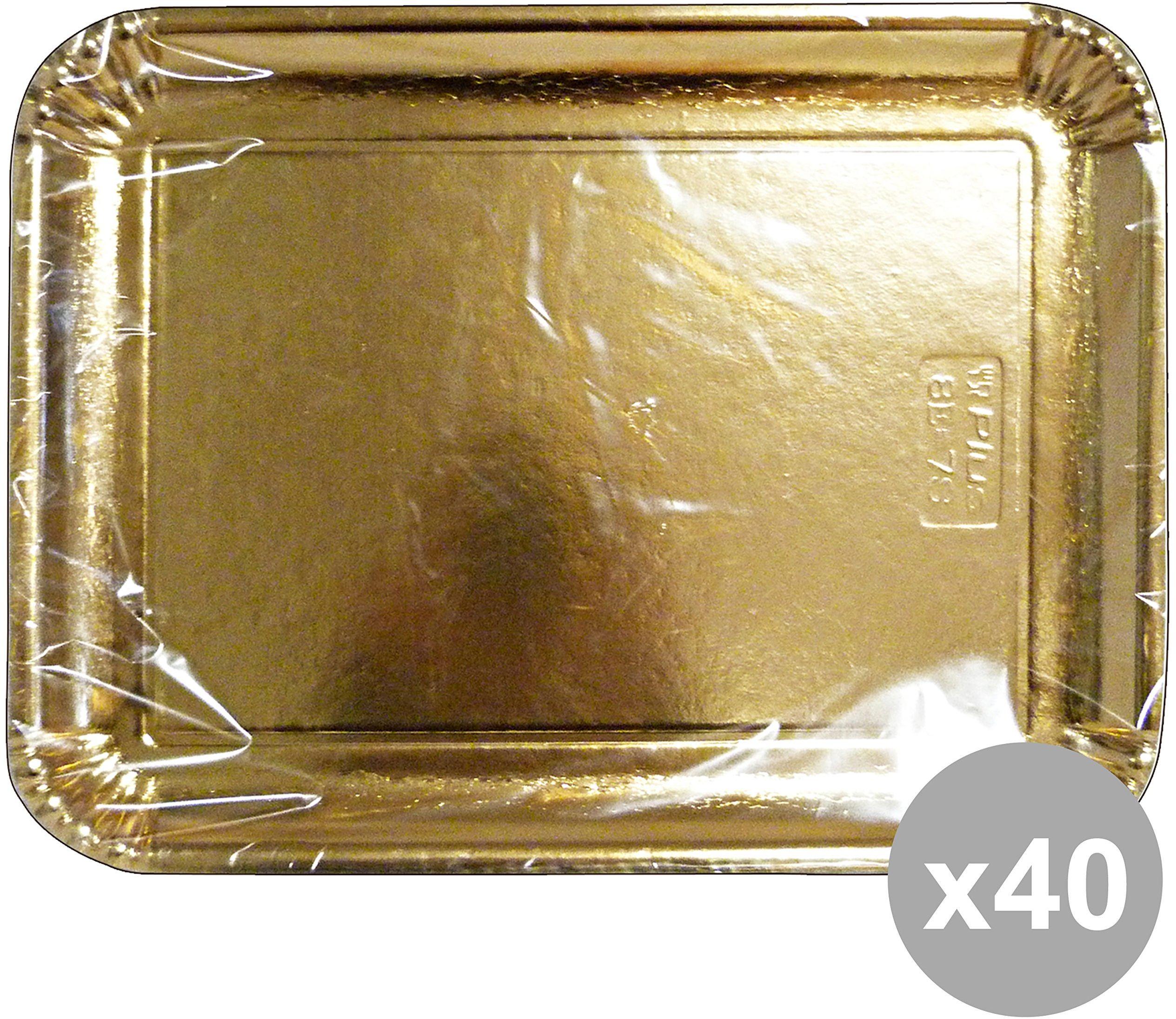 Zestaw 40 taca papier prostokątna złota 31 x 42 cm. * 2 sztuki 63076. Pojemnik do kuchni