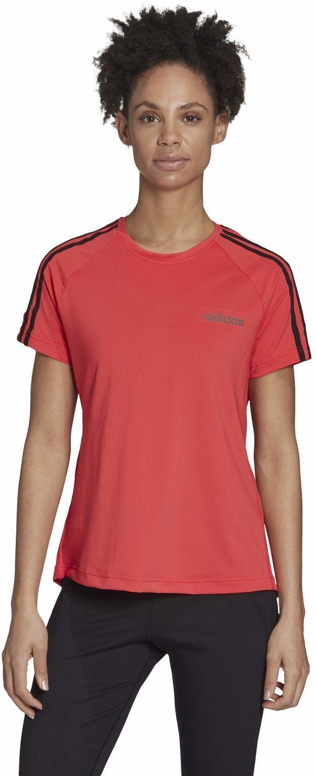Adidas D2M koszulka damska z 3 paskami, Corpnk/Black, 2XS