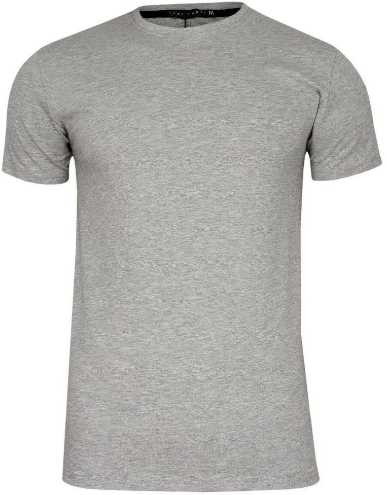 Szary, Popielaty T-shirt Męski, Krótki Rękaw -Just Yuppi- Koszulka, BASIC, Jednokolorowa, U-Neck TSJTYUP6231kol6szaryU