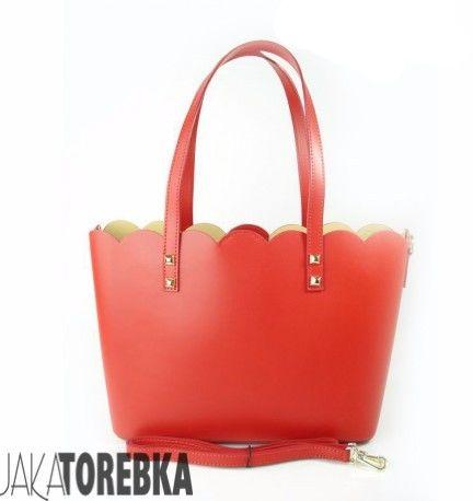 Torebka Włoska Skóra Shopper Bag Czerwona