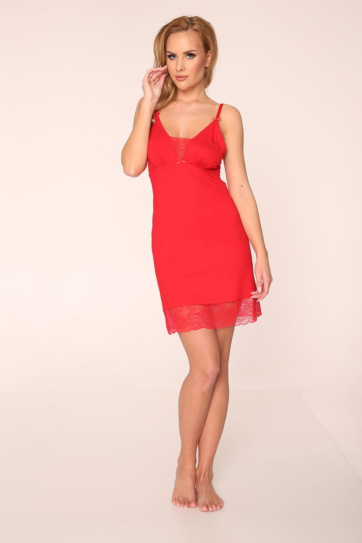 Koszula nocna damska De Lafense 339 Fanny czerwony