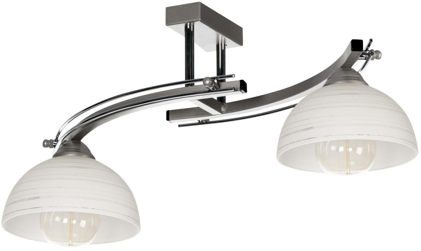 Lampex Nida 2 553/2 plafon lampa sufitowa klasyczna białe szklane klosze z pasiastym wzorem 2x60W E27 66cm