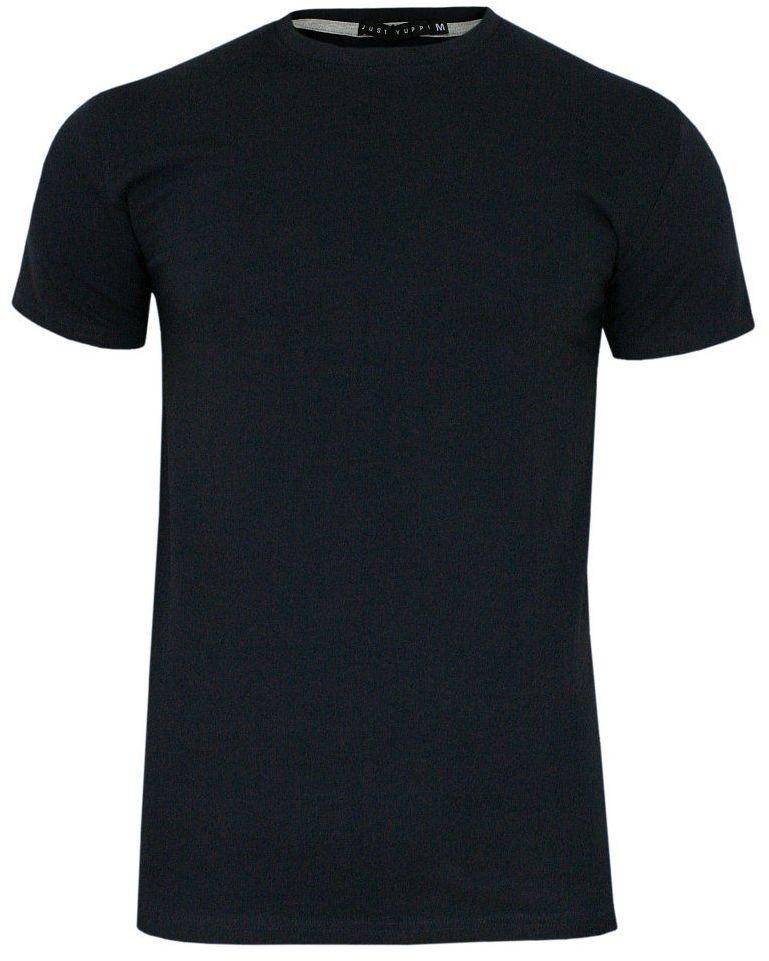 Granatowy T-shirt Męski, Krótki Rękaw -Just Yuppi- Koszulka, BASIC, Jednokolorowa, U-Neck TSJTYUP6231kol3granatU