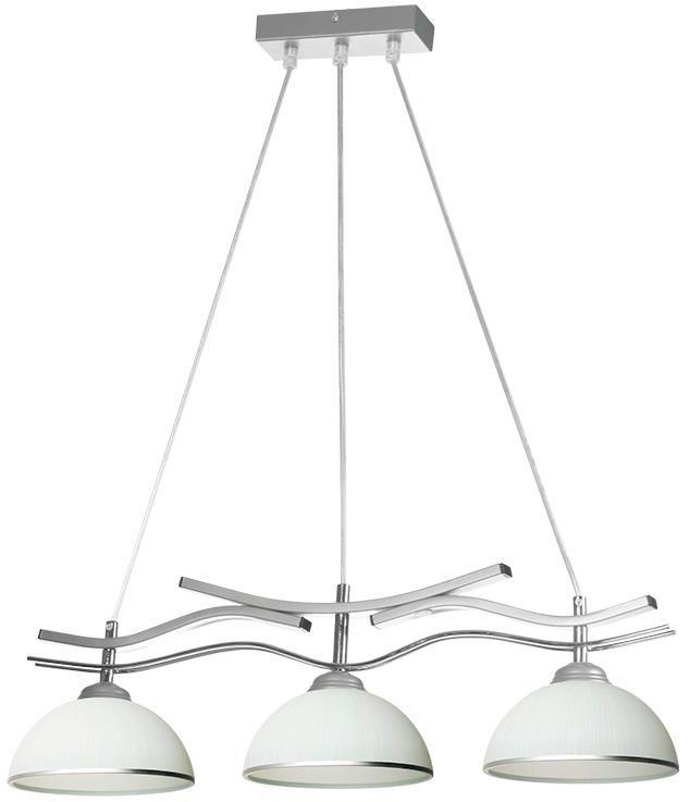 Lampex Eris 3 554/3 lampa wisząca metalowa trzy punkty świetlne biało-srebrna szklane klosze E27 3 60W 65cm