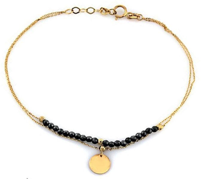 Złota bransoletka 585 z hematytem kółeczko 0,97 g