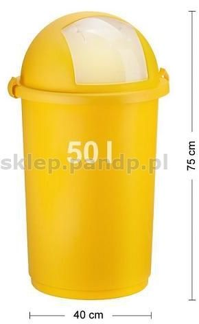 Kosz na śmieci 50L push 5055 żółty