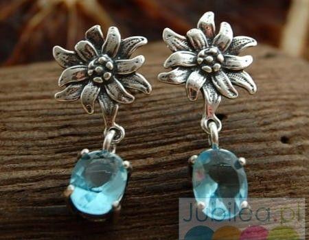 Kwiatowe - srebrne kolczyki z akwamarynem