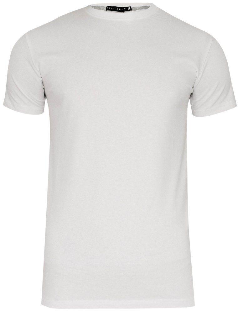 Biały T-shirt Męski, Krótki Rękaw -Just Yuppi- Koszulka, Basic, Jednokolorowa, U-Neck TSJTYUP6231kol1bialyU