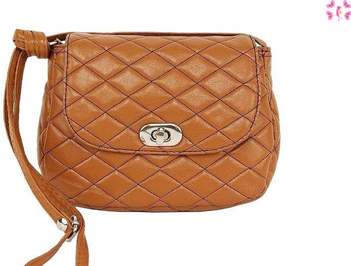 Pikowana torebka brąz-rudy Promocja -30%