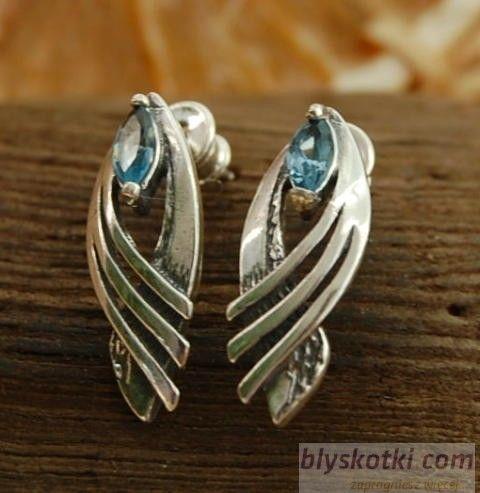 Corina - srebrne kolczyki z akwamarynem