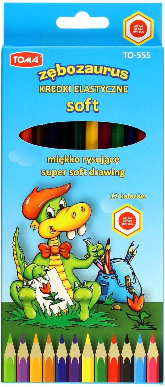 Kredki ołówkowe 12kol elastyczne Zębozaurus Soft