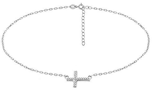 Delikatny rodowany srebrny naszyjnik gwiazd celebrytka krzyżyk krzyż cross cyrkonie srebro 925 Z1664N