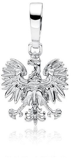 Rodowany duży srebrny wisior patriotyczny orzeł w koronie orzełek godło Polskisrebro 925 KS0228C