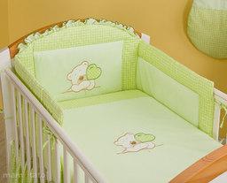 MAMO-TATO pościel 3-el Miś z serduszkiem w zieleni do łóżeczka 60x120cm