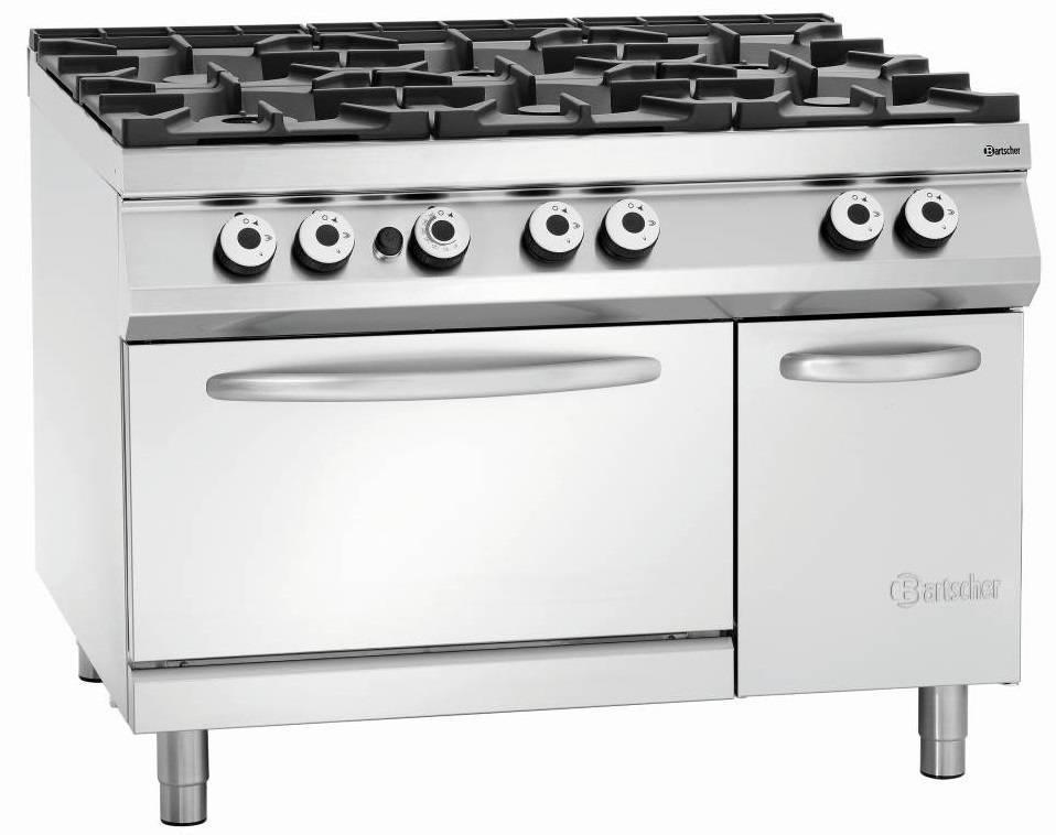 Bartscher Kuchnia gazowa 6 palnikowa z piekarnikiem el. 37500W - kod 2952481