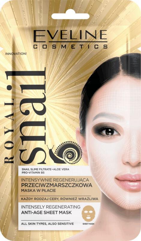 EVELINE - ROYAL SNAIL ANTI-AGE SHEET MASK - Intensywnie regenerująca, przeciwzmarszczkowa maska do twarzy