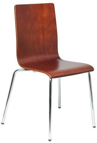 Krzesło ze sklejki w kolorze c. Orzech, stelaż chromowany. Model TDC-132. - Stema