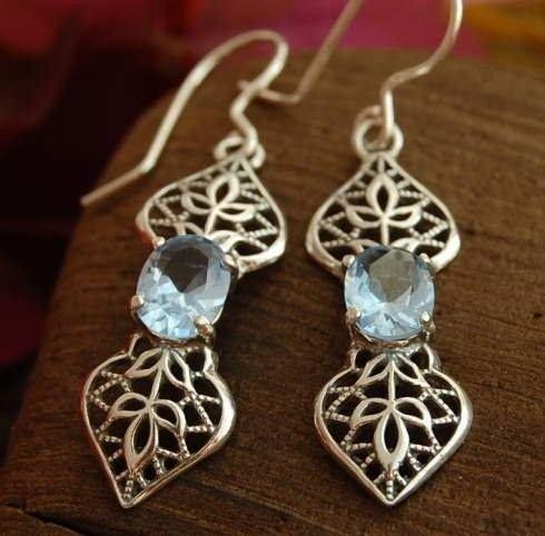 Darel - srebrne kolczyki z akwamarynem