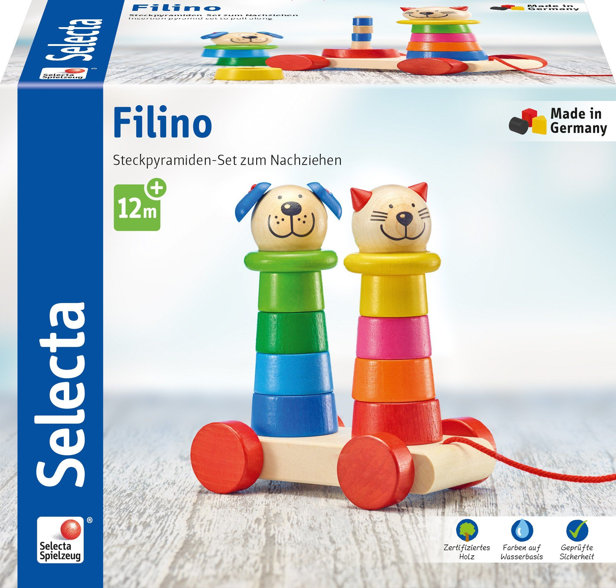 Selecta 62018 Filino, drewniana zabawka do ciągnięcia i układania, 15 cm