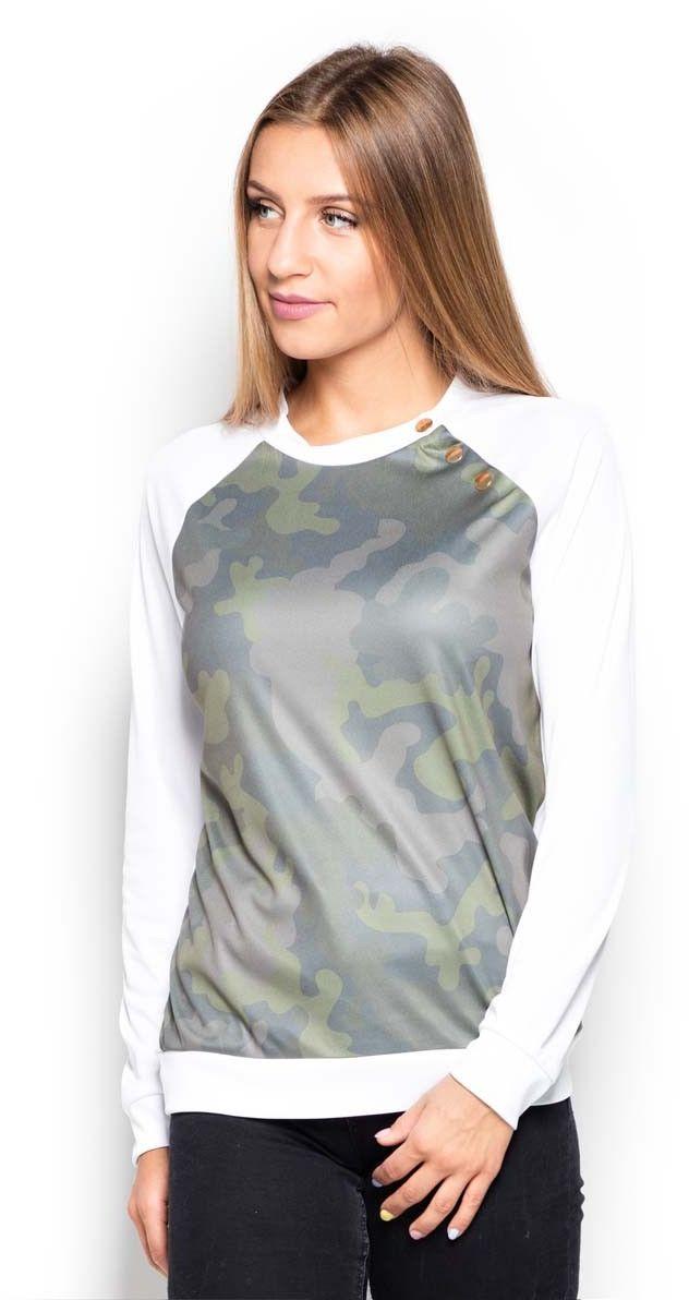 Bluza z wzorzystym przodem w moro