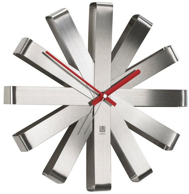 Umbra - zegar ścienny - ribbon - stalowy