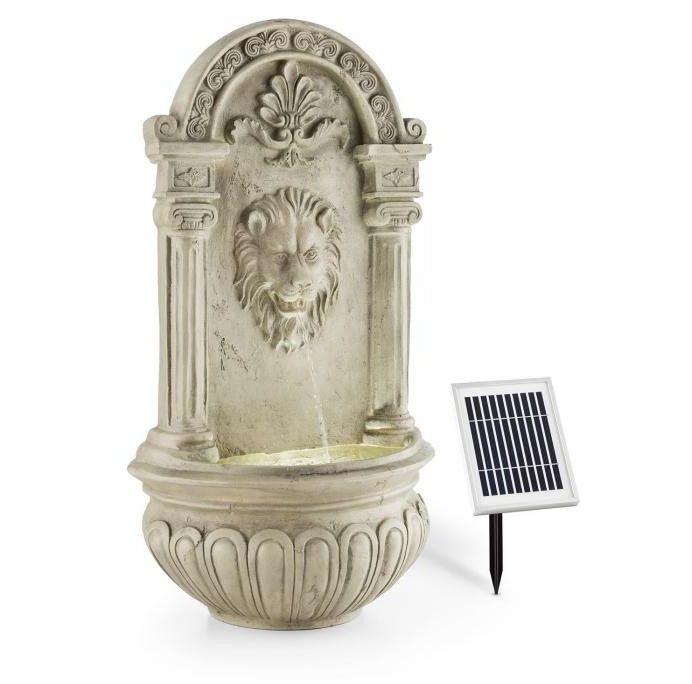 Blumfeldt Löwenstein Ogrodowa fontanna ścienna 2 W panel solarny LED polyresin imitacja kamienia