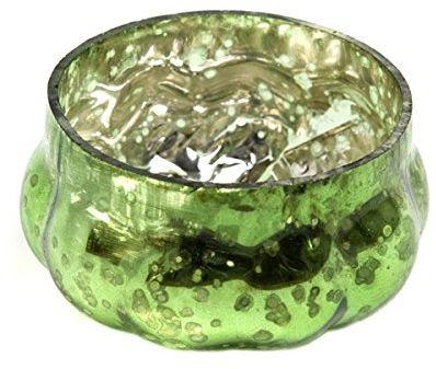 Insideretail Ślubne świeczniki na świecenia: Antyczna dynia Szkło Merkury wotywne - zielony - 5 cm x 5 cm, zestaw 48, zielony, 5 x 5 x 5 cm