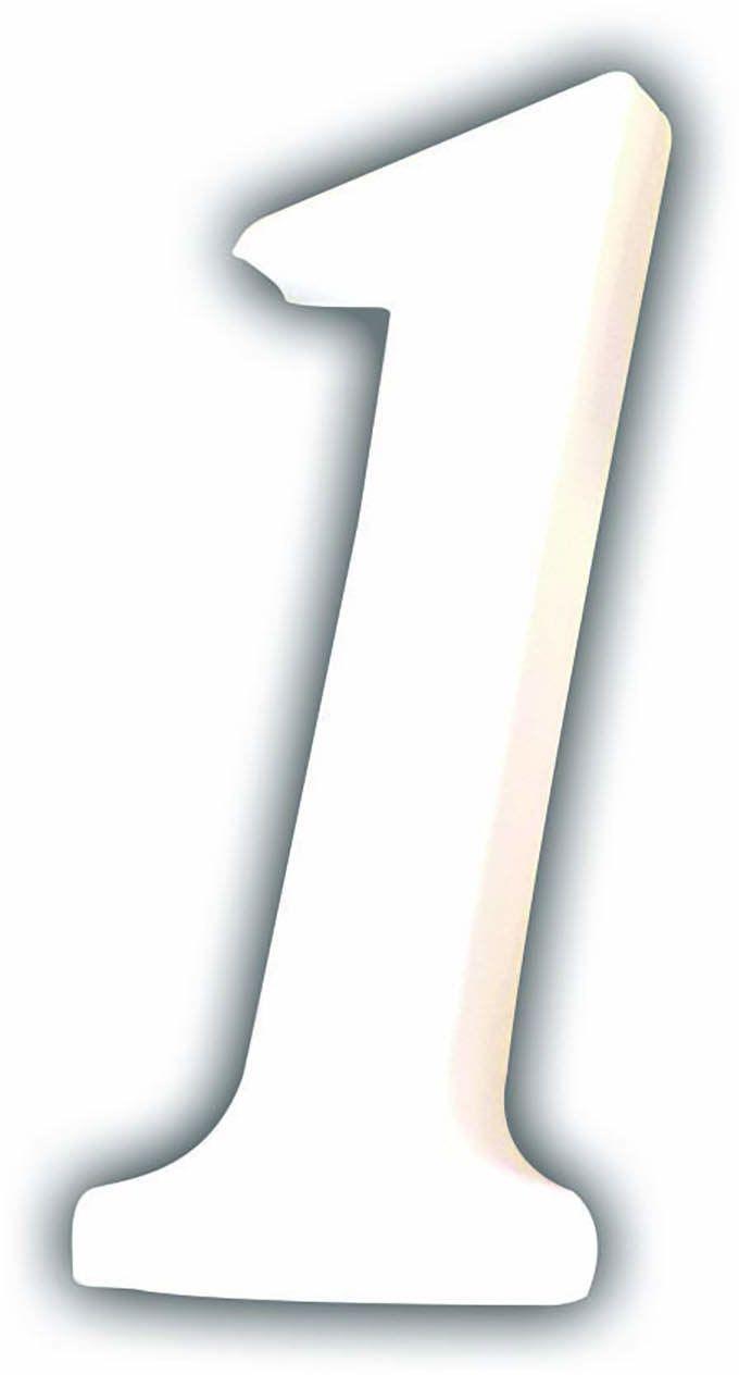 Décopatch AC341O cyfra 1 mała z masy papierowej, 1,5 x 4,5 x 12 cm, do zdobienia, biała