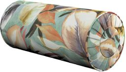 Poduszka wałek z zakładkami, pomarańczowo-bordowo-zółte liście na miętowym tle, Ø20  50 cm, Abigail