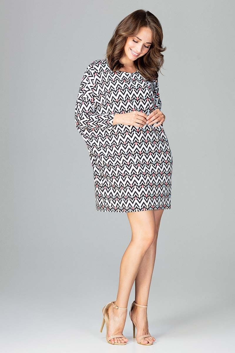 Oversizowa sukienka mini w geometryczny wzór