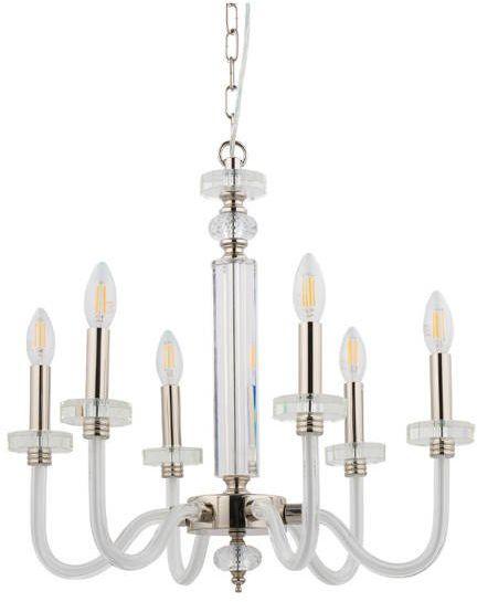 Żyrandol HAMPTON VI klasyczny szkło i stal chromowana srebrny