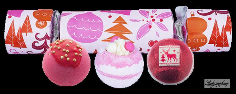 Bomb Cosmetics - Cracker Gift Pack - Zestaw upominkowy w kształcie cukierka - WE WISH YOU A ROSY CHRISTMAS