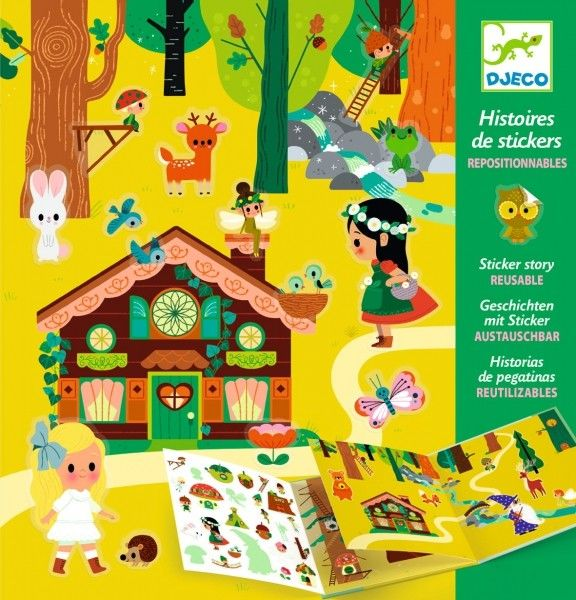 Djeco - Zestaw Artystyczny z Naklejkami Magiczny las Dj08956