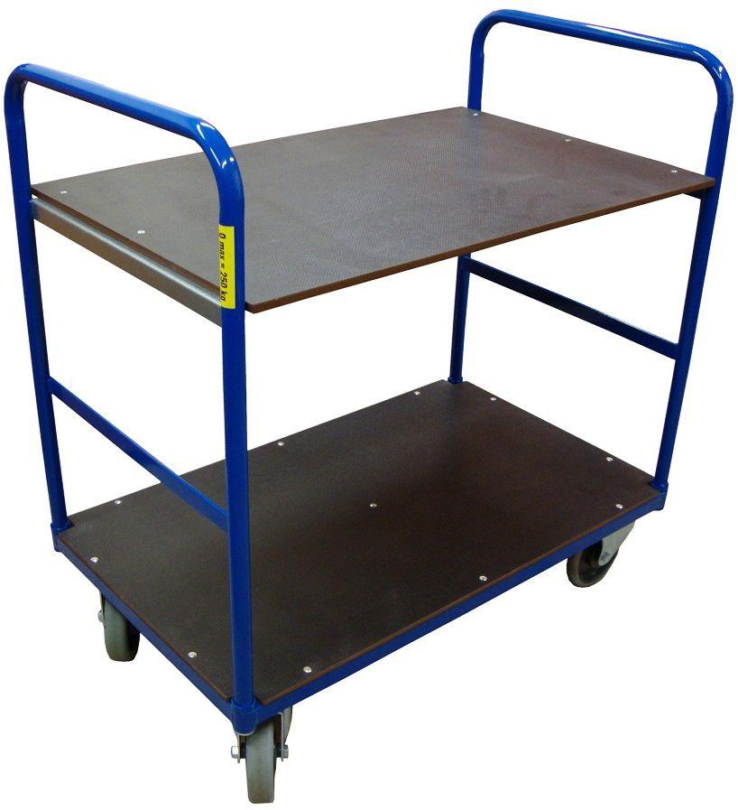 Wózek magazynowy dwupółkowy 250 kg, 1000x600