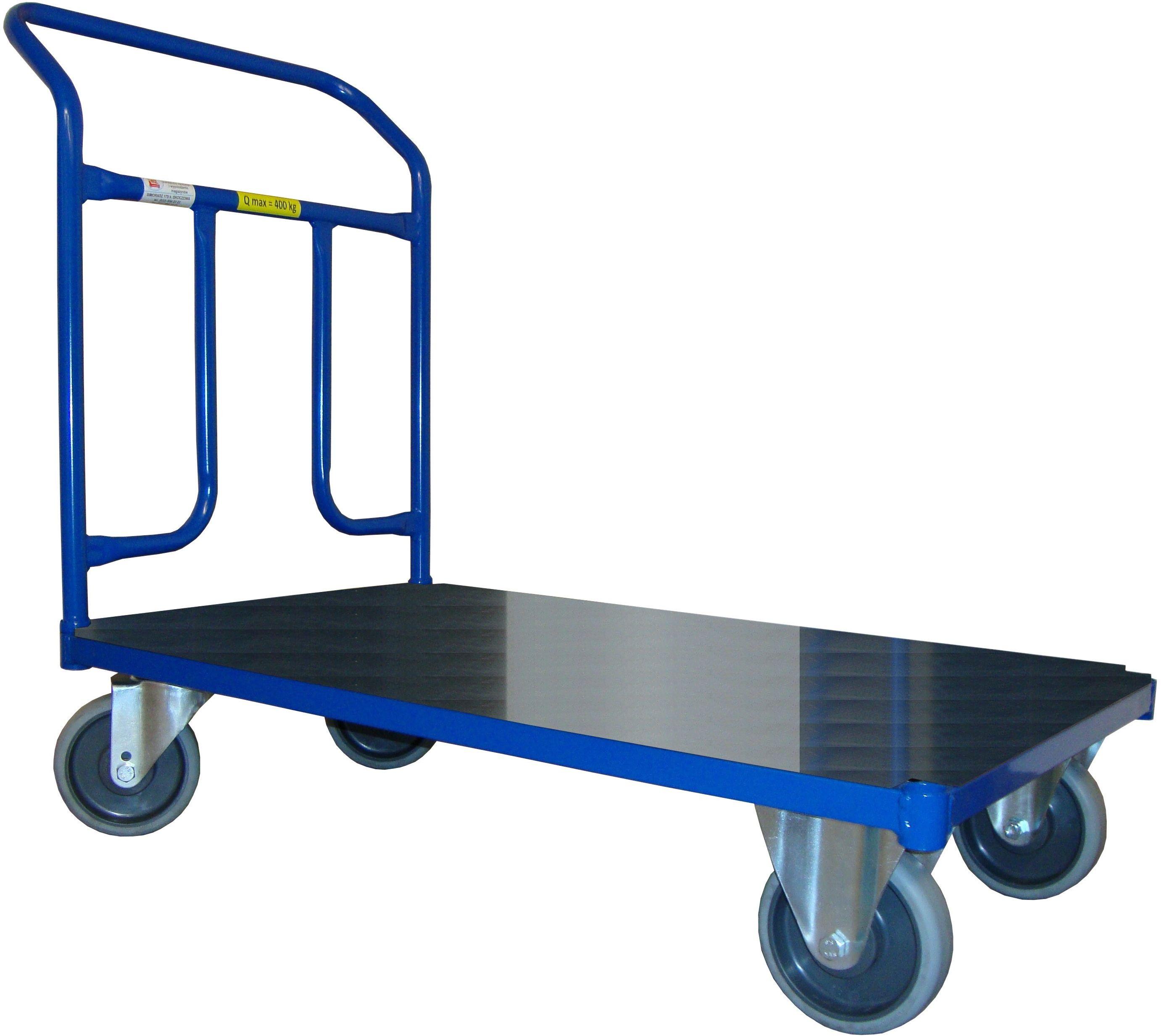 Wózek magazynowy platformowy, poręcz przykręcana, 400 kg