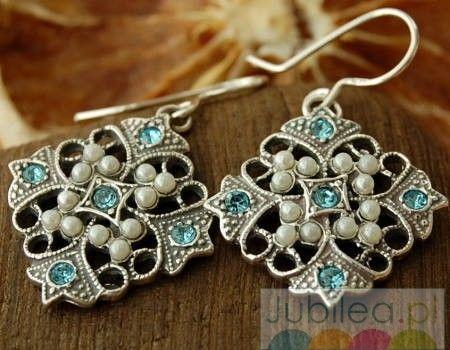 Malta - srebrne kolczyki akwamaryn i perły