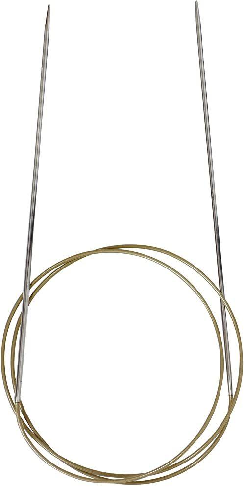 Addi Ad7757080-02.00 Dlugie Okragle Igly Do Robienia Na Drutach, 80 cm Dlugosc x 02.00 mm Grubosc, Srebrny/Czerwony
