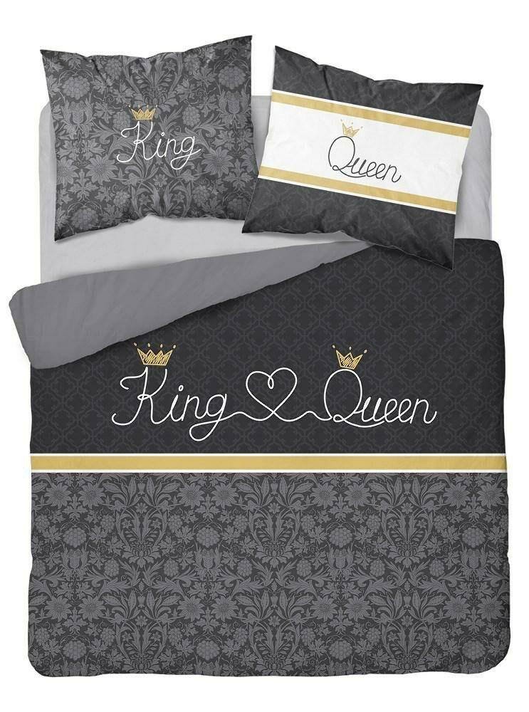 Pościel bawełniana 160x200 3512 A King and Queen Król i Królowa szara czarna Glamour ornamenty orientalna Holland