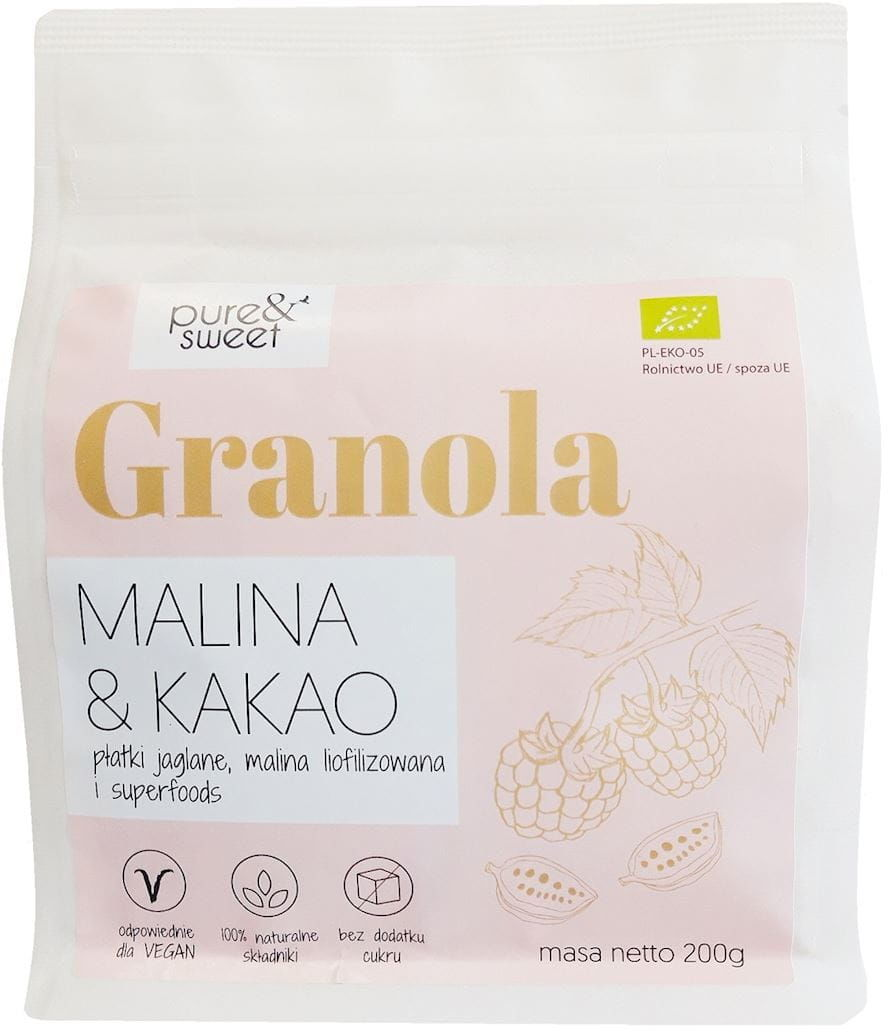 Granola malina&kakao bezglutenowa bio 200 g - pure&sweet