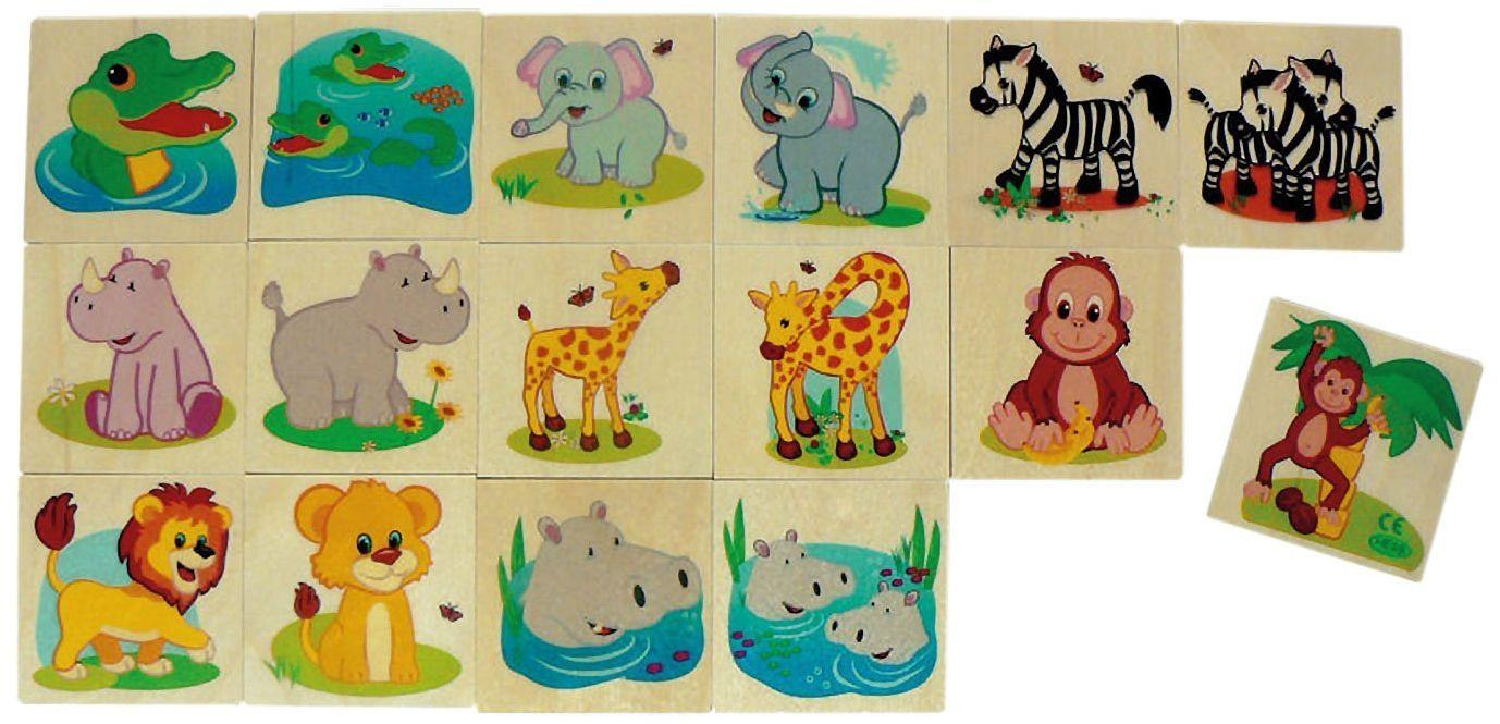 Memo 14934  zwierzęta z dżungli, z drewna, 16 części