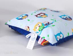 MAMO-TATO Poduszka Minky dwustronna 40x60 Sówki błękitne / granatowy