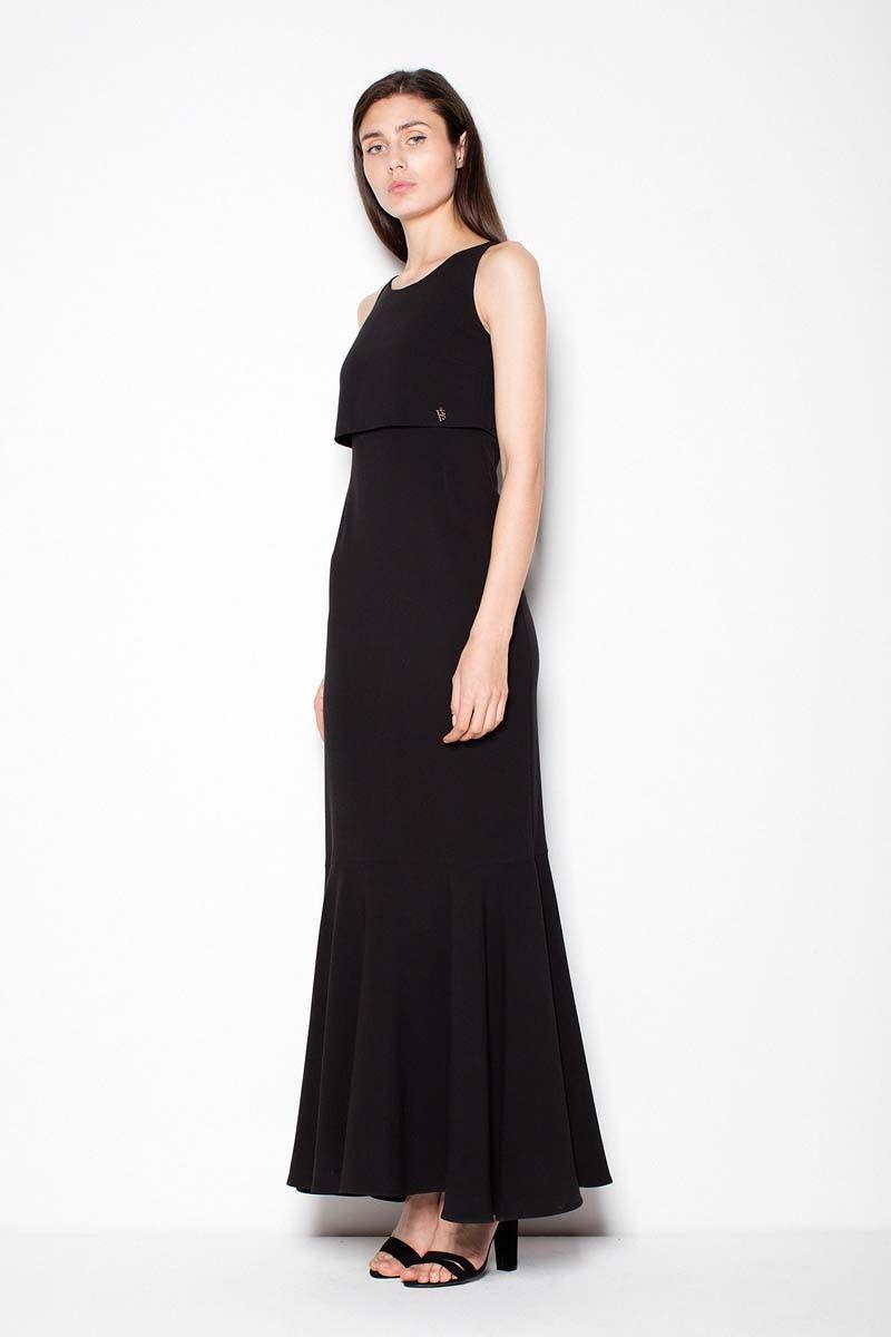 Czarna wieczorowa maxi sukienka z nakładką