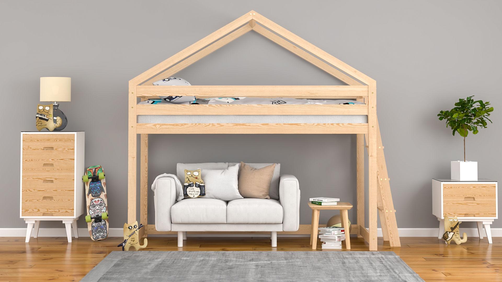Łóżko dla dzieci domek na antresoli Britta