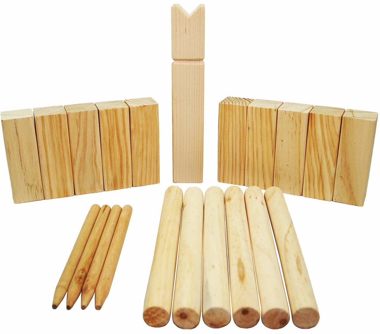 Best Sporting 64905  daszek Wikingów, drewniana zabawa, łącznie z siatką do noszenia, zabawa na świeżym powietrzu dla całej rodziny