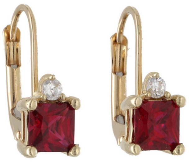 Złote kolczyki 585 rubinowe cyrkonie 2,42 g