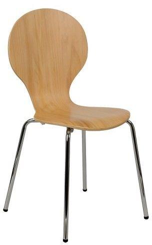 Krzesło ze sklejki, stelaż chromowany. Model TDC-122. - Stema