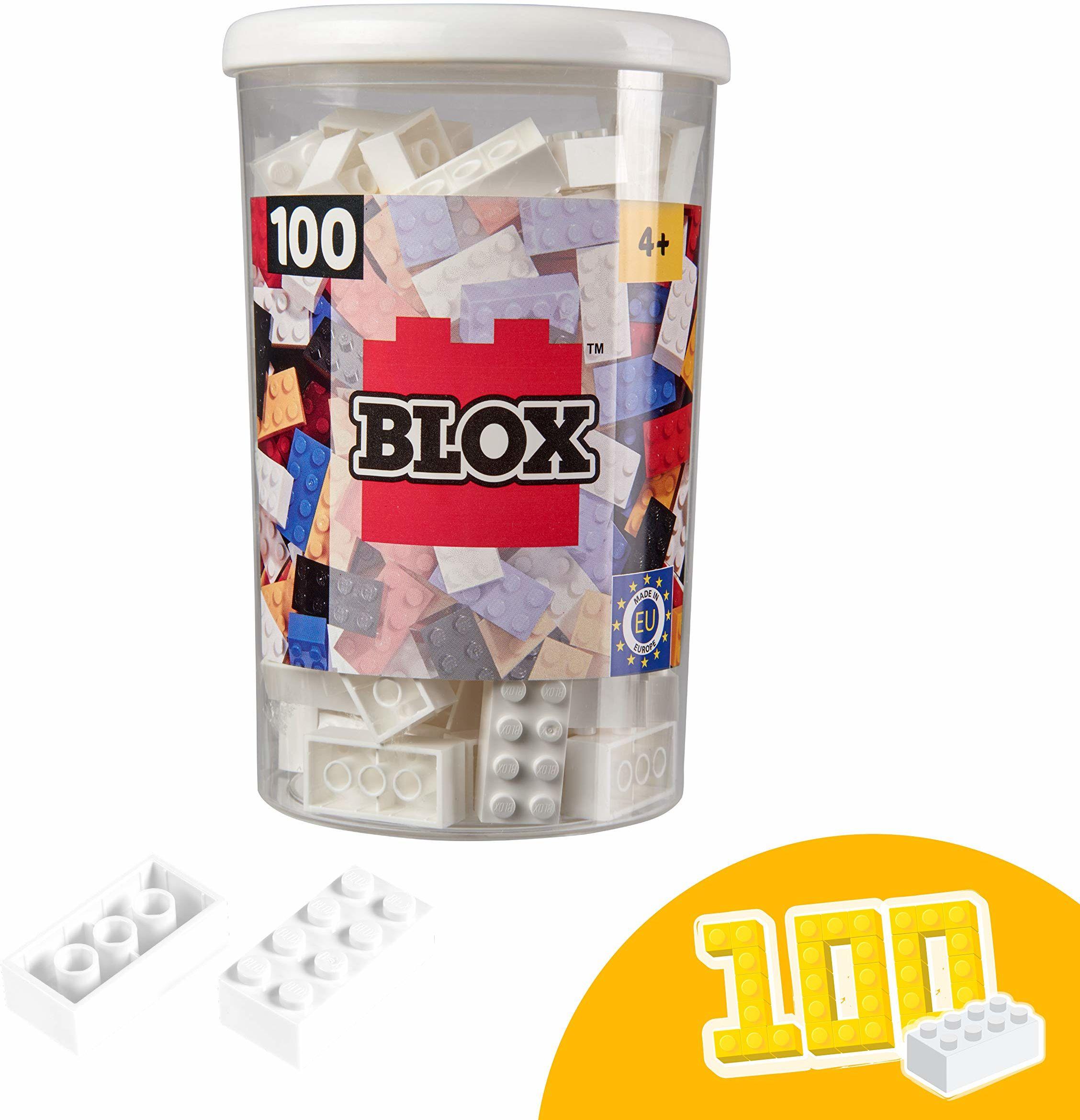 Simba 104118915, Blox, 100 białych klocków dla dzieci od 3 lat, 8 kamieni, w zestawie puszka, wysoka jakość, w pełni kompatybilne z produktami innych producentów