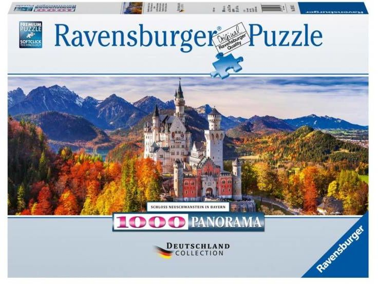 Puzzle 1000 Zamek Neuschwanstein Panorama - Ravensburger