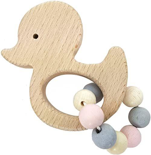 Hess 1111 - drewniana zabawka, kaczka z drewna, naturalny różowy